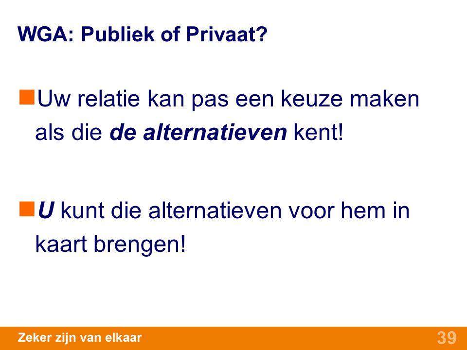 39 WGA: Publiek of Privaat? Uw relatie kan pas een keuze maken als die de alternatieven kent! U kunt die alternatieven voor hem in kaart brengen!