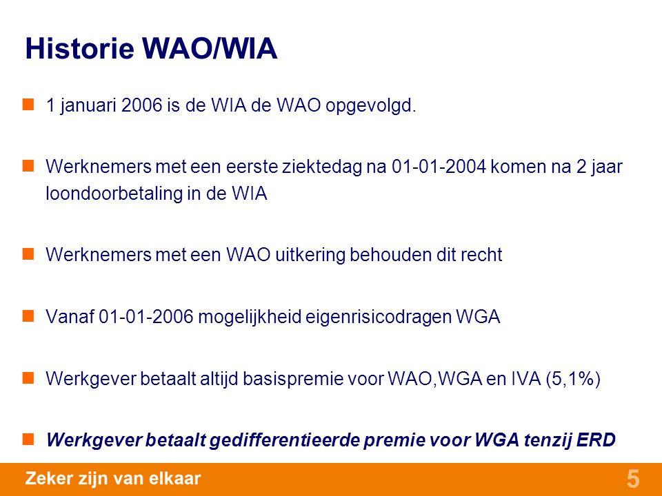 5 Historie WAO/WIA 1 januari 2006 is de WIA de WAO opgevolgd. Werknemers met een eerste ziektedag na 01-01-2004 komen na 2 jaar loondoorbetaling in de
