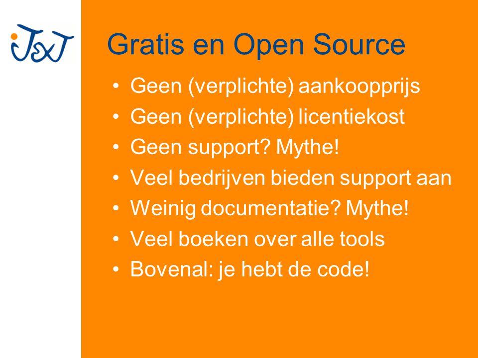 Gratis en Open Source Geen (verplichte) aankoopprijs Geen (verplichte) licentiekost Geen support.