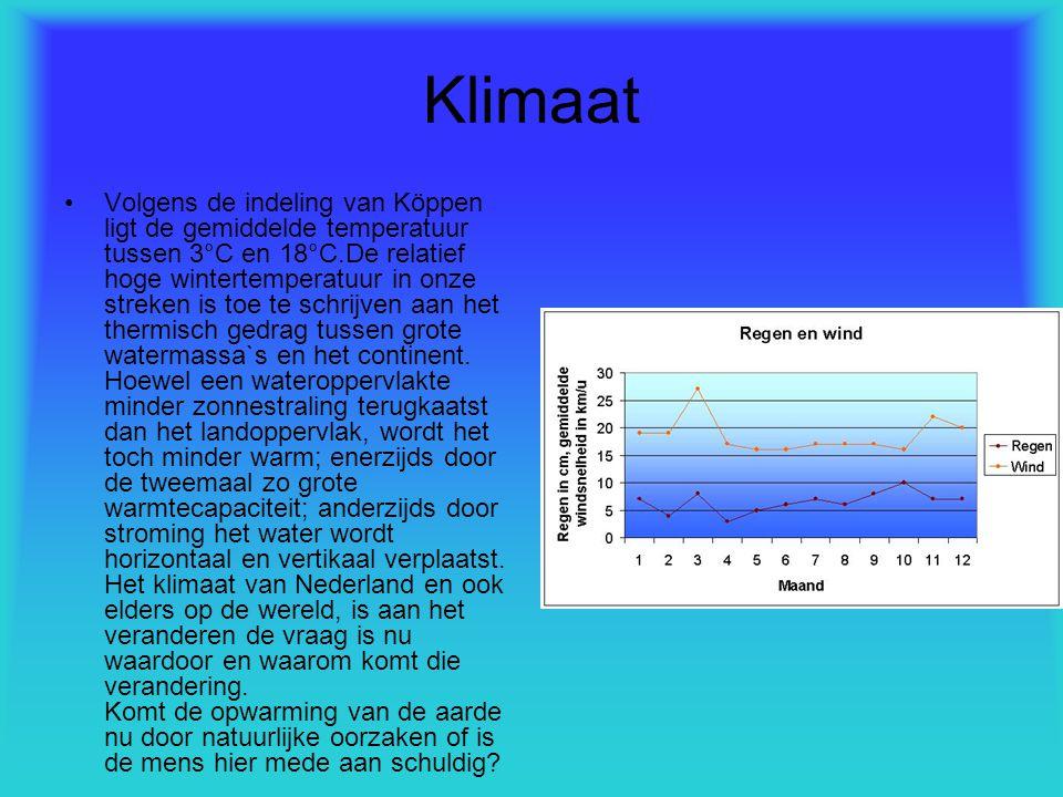 Klimaat Volgens de indeling van Köppen ligt de gemiddelde temperatuur tussen 3°C en 18°C.De relatief hoge wintertemperatuur in onze streken is toe te