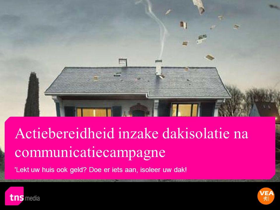 Basis: campagne VEA gezien/gehoord (n=584) Profiel: Meer 65+ jarigen Minder 35-44 jarigen, gesloten bebouwing, energiebesparing eerder belangrijk Profiel: Meer huurders Meer Vlaams-Brabant 55% helemaal akkoord6% niet akkoord De campagne is informatief - In welke mate gaat u akkoord met deze uitspraak.