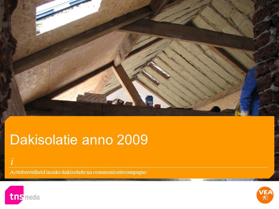 Actiebereidheid inzake dakisolatie na communicatiecampagne Dakisolatie anno 2009