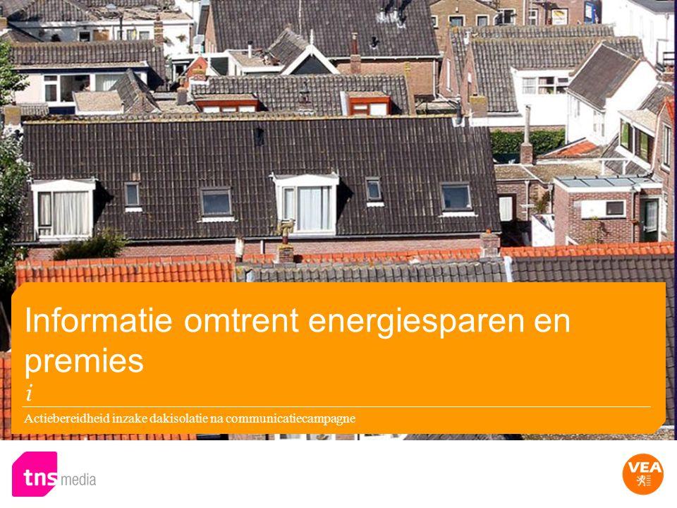 Actiebereidheid inzake dakisolatie na communicatiecampagne Informatie omtrent energiesparen en premies