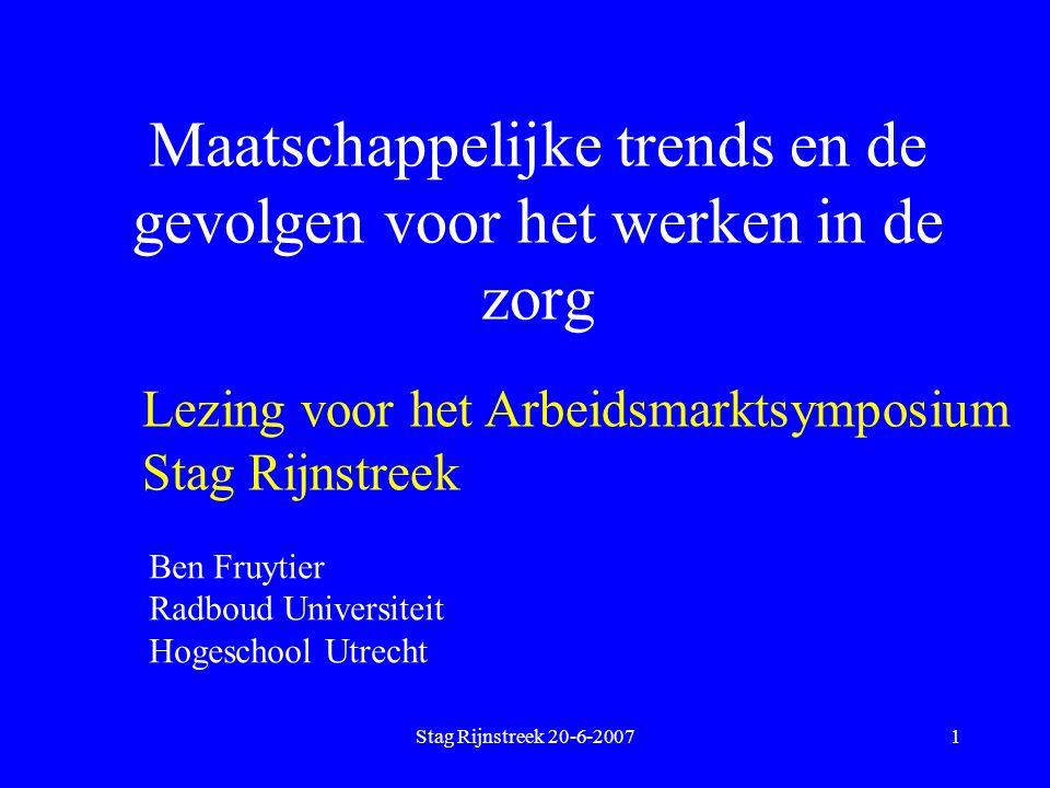 Stag Rijnstreek 20-6-20071 Maatschappelijke trends en de gevolgen voor het werken in de zorg Lezing voor het Arbeidsmarktsymposium Stag Rijnstreek Ben