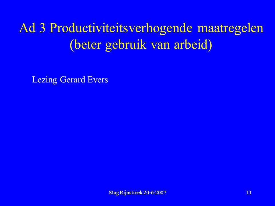 Stag Rijnstreek 20-6-200711 Ad 3 Productiviteitsverhogende maatregelen (beter gebruik van arbeid) Lezing Gerard Evers