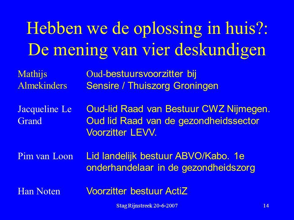 Stag Rijnstreek 20-6-200714 Hebben we de oplossing in huis?: De mening van vier deskundigen Mathijs Almekinders Jacqueline Le Grand Pim van Loon Han N