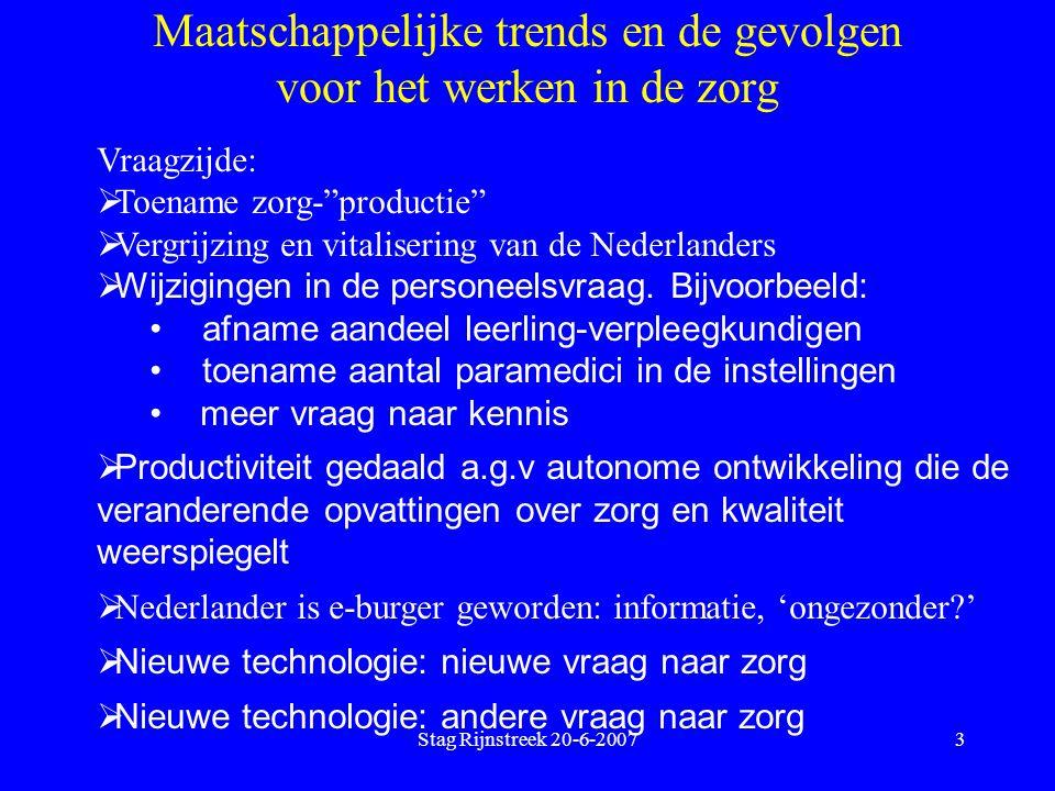 Stag Rijnstreek 20-6-20074 Maatschappelijke trends en de gevolgen voor het werken in de zorg Aanbodzijde:  De Nederlandse werknemer is een e-burger geworden: individualistischer, materieel veeleisender, onafhankelijker;  De Nederlandse werknemer heeft behoefte aan sociale cohesie, zinvol werk, veiligheid;  De Nederlandse werknemer is wereldburger geworden;  De 'wereld-werknemer' komt naar Nederland;  De Nederlandse werknemer 'vergrijst, 'ontgroent', 'verkleurt';  De Nederlandse werknemer wordt ondernemender; pluriformer