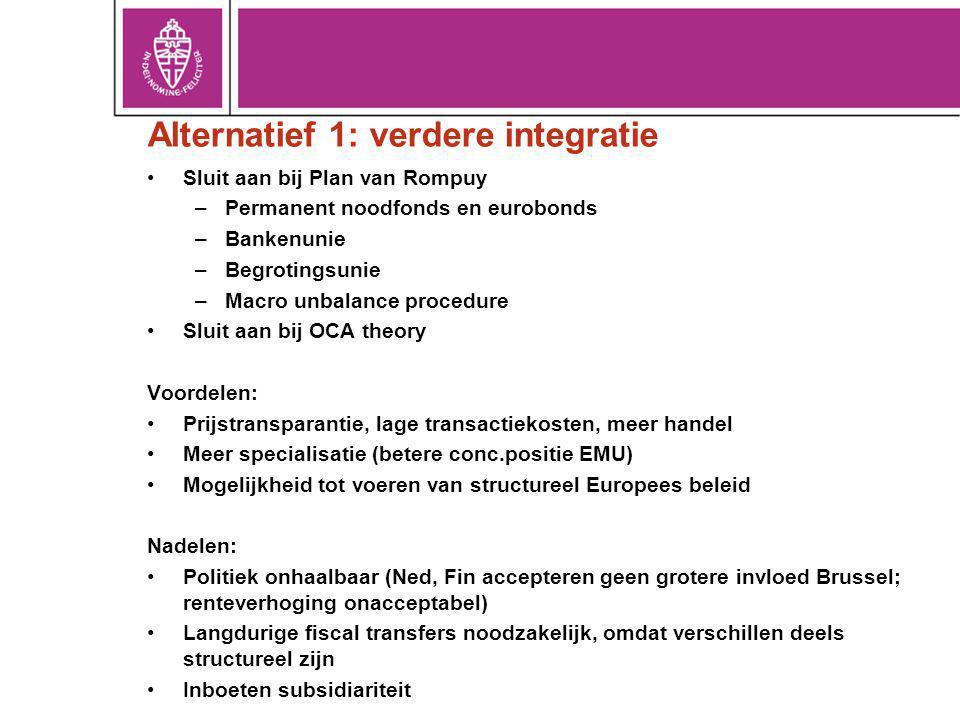 Alternatief 1: verdere integratie Sluit aan bij Plan van Rompuy –Permanent noodfonds en eurobonds –Bankenunie –Begrotingsunie –Macro unbalance procedure Sluit aan bij OCA theory Voordelen: Prijstransparantie, lage transactiekosten, meer handel Meer specialisatie (betere conc.positie EMU) Mogelijkheid tot voeren van structureel Europees beleid Nadelen: Politiek onhaalbaar (Ned, Fin accepteren geen grotere invloed Brussel; renteverhoging onacceptabel) Langdurige fiscal transfers noodzakelijk, omdat verschillen deels structureel zijn Inboeten subsidiariteit