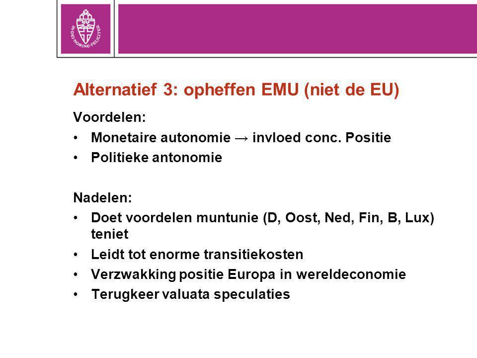 Alternatief 3: opheffen EMU (niet de EU) Voordelen: Monetaire autonomie → invloed conc. Positie Politieke antonomie Nadelen: Doet voordelen muntunie (
