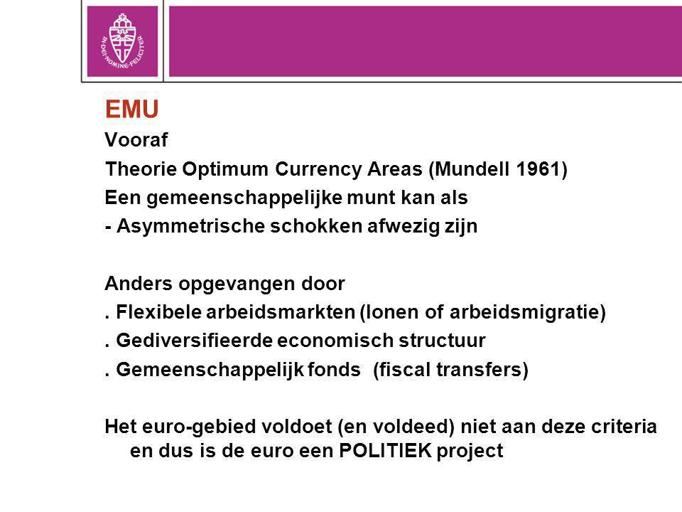 EMU Vooraf Theorie Optimum Currency Areas (Mundell 1961) Een gemeenschappelijke munt kan als - Asymmetrische schokken afwezig zijn Anders opgevangen door.