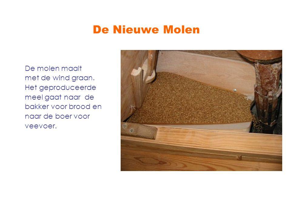 De Nieuwe Molen De molen maalt met de wind graan. Het geproduceerde meel gaat naar de bakker voor brood en naar de boer voor veevoer.