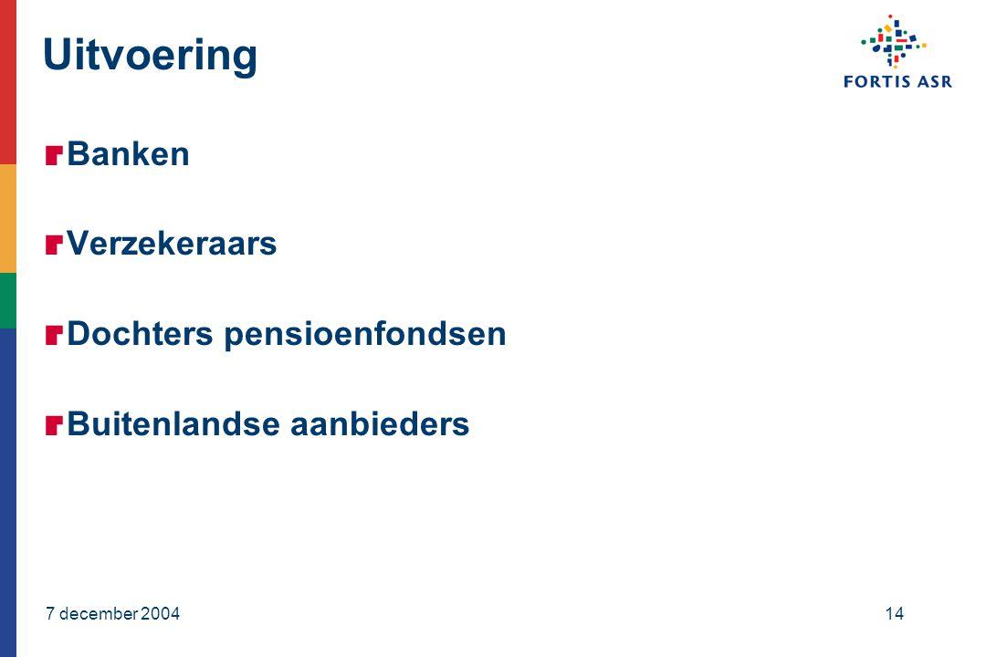 7 december 200414 Uitvoering  Banken  Verzekeraars  Dochters pensioenfondsen  Buitenlandse aanbieders