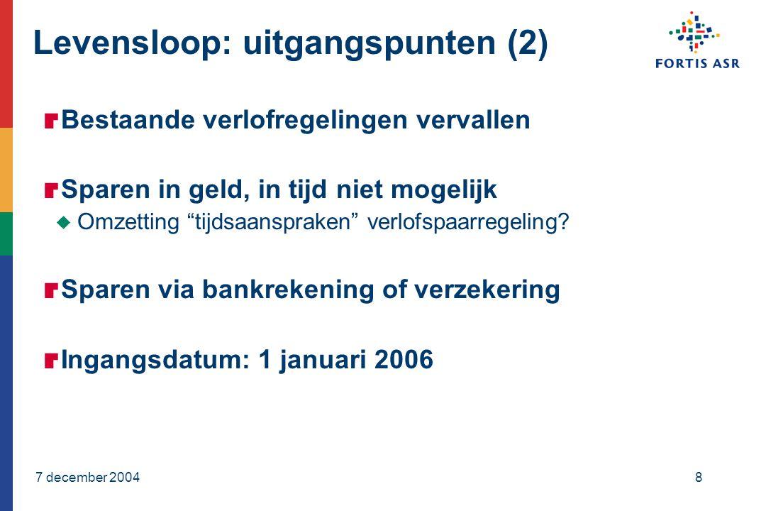 7 december 20048 Levensloop: uitgangspunten (2)  Bestaande verlofregelingen vervallen  Sparen in geld, in tijd niet mogelijk  Omzetting tijdsaanspraken verlofspaarregeling.