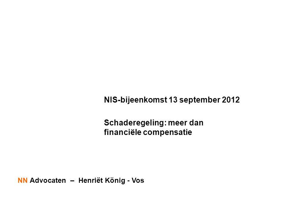 NIS-bijeenkomst 13 september 2012 Schaderegeling: meer dan financiële compensatie NN Advocaten – Henriët König - Vos