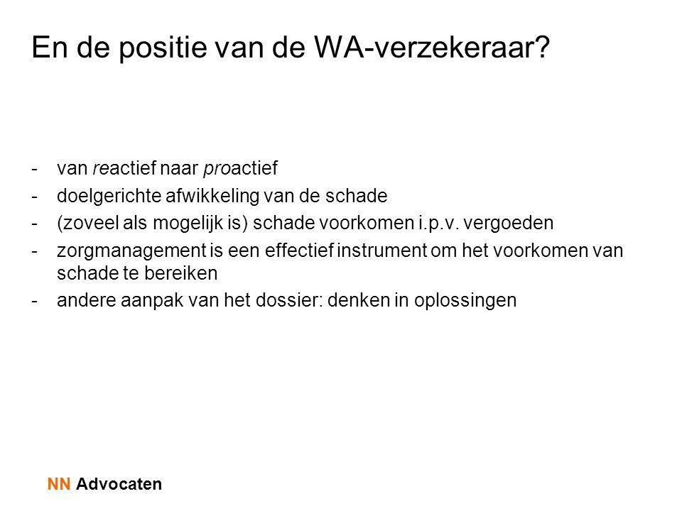 En de positie van de WA-verzekeraar? -van reactief naar proactief -doelgerichte afwikkeling van de schade -(zoveel als mogelijk is) schade voorkomen i