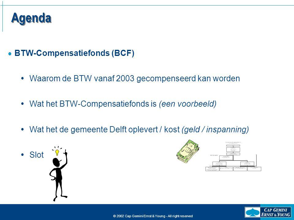 © 2002 Cap Gemini Ernst & Young - All right reserved Agenda  BTW-Compensatiefonds (BCF)  Waarom de BTW vanaf 2003 gecompenseerd kan worden  Wat het