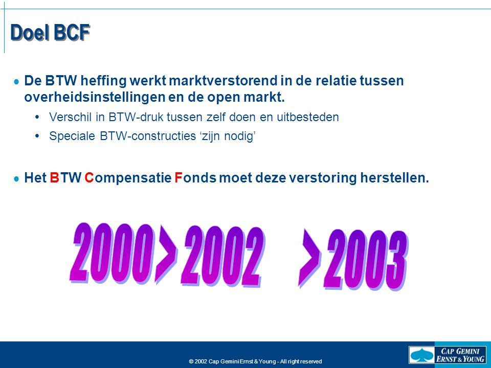 © 2002 Cap Gemini Ernst & Young - All right reserved Doel BCF  De BTW heffing werkt marktverstorend in de relatie tussen overheidsinstellingen en de