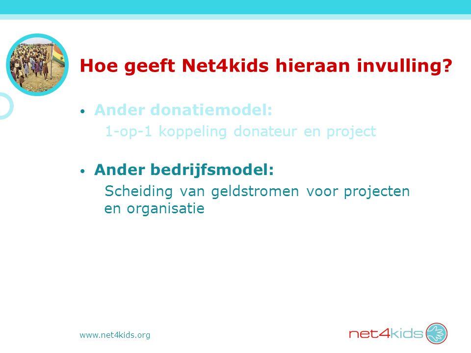 www.net4kids.org Hoe geeft Net4kids hieraan invulling? Ander donatiemodel: 1-op-1 koppeling donateur en project Ander bedrijfsmodel: Scheiding van gel