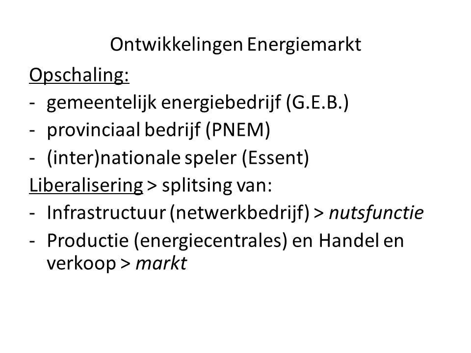 Ontwikkelingen Energiemarkt Opschaling: -gemeentelijk energiebedrijf (G.E.B.) -provinciaal bedrijf (PNEM) -(inter)nationale speler (Essent) Liberalisering > splitsing van: -Infrastructuur (netwerkbedrijf) > nutsfunctie -Productie (energiecentrales) en Handel en verkoop > markt