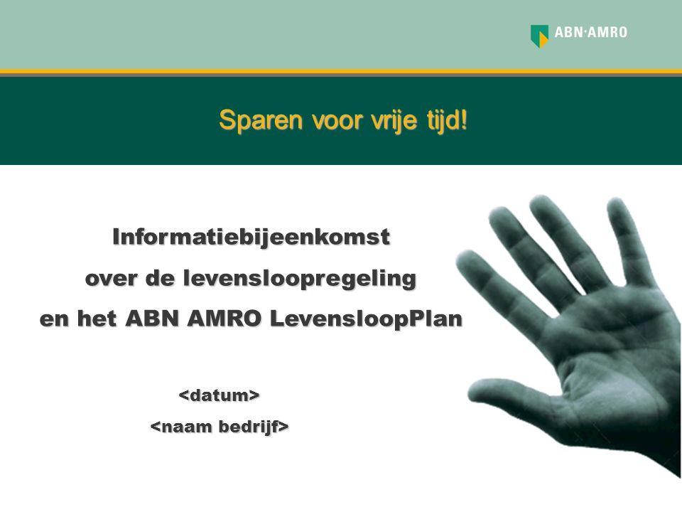 Sparen voor vrije tijd! <datum> Informatiebijeenkomst over de levensloopregeling en het ABN AMRO LevensloopPlan
