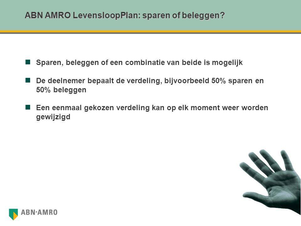 ABN AMRO LevensloopPlan: sparen of beleggen? Sparen, beleggen of een combinatie van beide is mogelijk De deelnemer bepaalt de verdeling, bijvoorbeeld