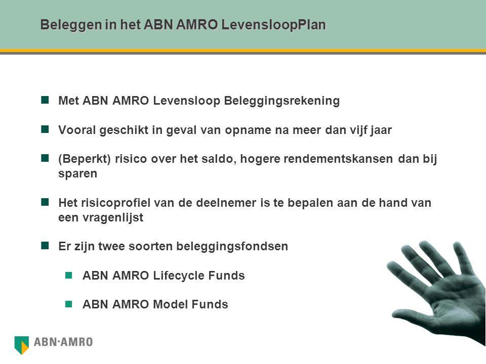 Beleggen in het ABN AMRO LevensloopPlan Met ABN AMRO Levensloop Beleggingsrekening Vooral geschikt in geval van opname na meer dan vijf jaar (Beperkt)