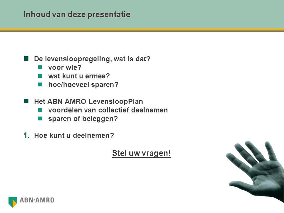 Inhoud van deze presentatie De levensloopregeling, wat is dat? voor wie? wat kunt u ermee? hoe/hoeveel sparen? Het ABN AMRO LevensloopPlan voordelen v