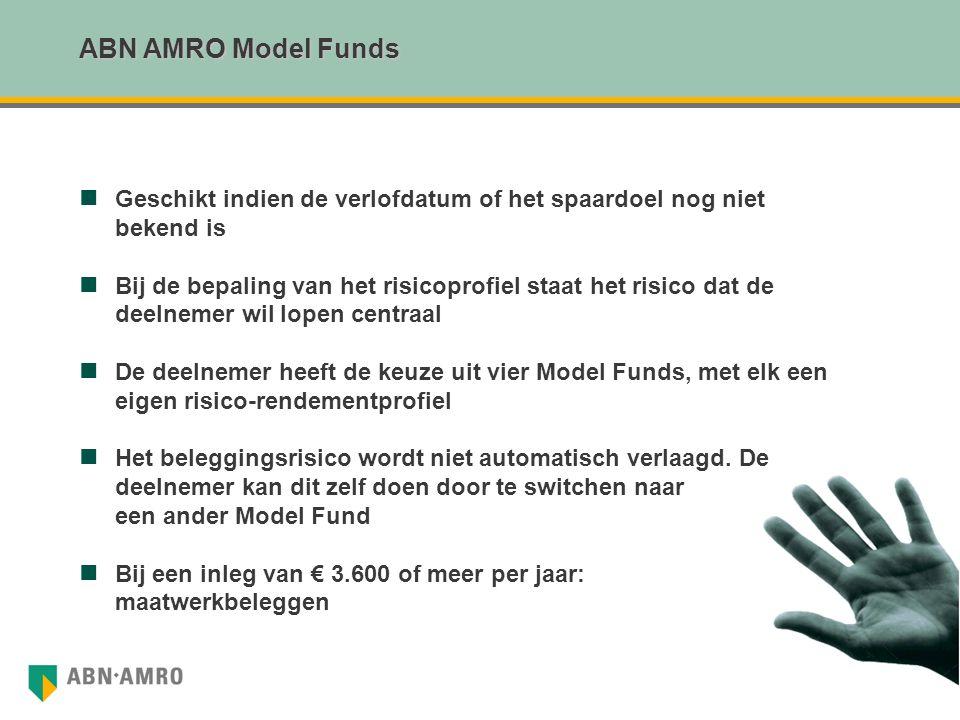 ABN AMRO Model Funds Geschikt indien de verlofdatum of het spaardoel nog niet bekend is Bij de bepaling van het risicoprofiel staat het risico dat de