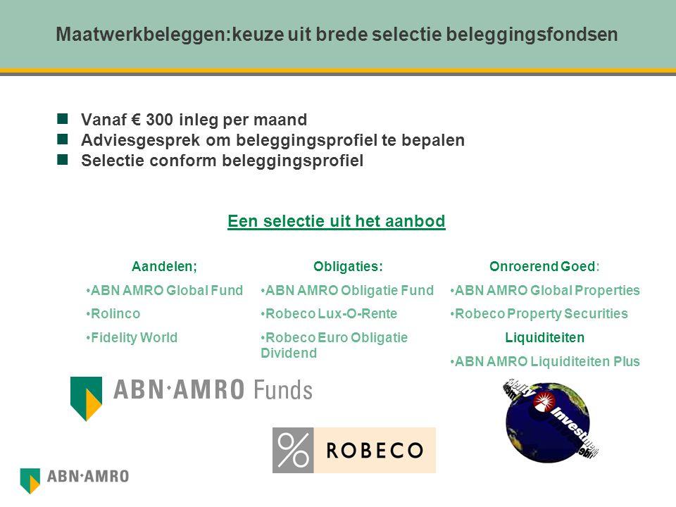 Maatwerkbeleggen:keuze uit brede selectie beleggingsfondsen Vanaf € 300 inleg per maand Adviesgesprek om beleggingsprofiel te bepalen Selectie conform