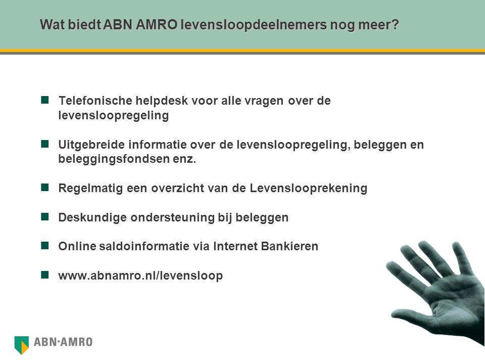 Wat biedt ABN AMRO levensloopdeelnemers nog meer? Telefonische helpdesk voor alle vragen over de levensloopregeling Uitgebreide informatie over de lev