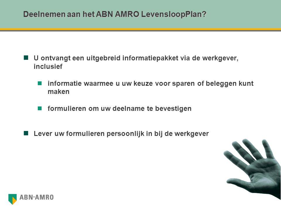 Deelnemen aan het ABN AMRO LevensloopPlan? U ontvangt een uitgebreid informatiepakket via de werkgever, inclusief informatie waarmee u uw keuze voor s