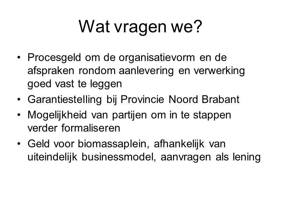 Wat vragen we? Procesgeld om de organisatievorm en de afspraken rondom aanlevering en verwerking goed vast te leggen Garantiestelling bij Provincie No