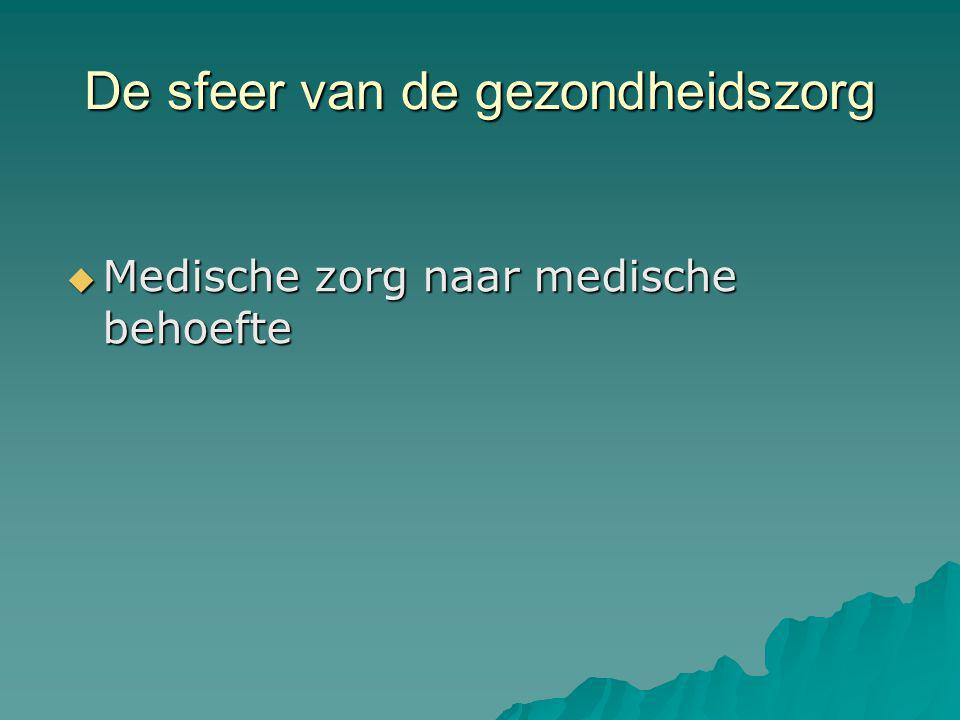 De sfeer van de gezondheidszorg  Medische zorg naar medische behoefte