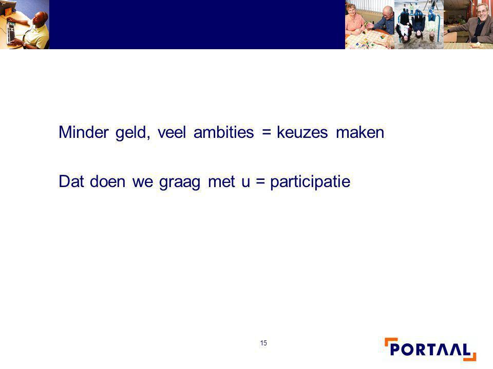 15 Minder geld, veel ambities = keuzes maken Dat doen we graag met u = participatie