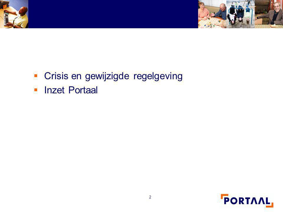 2  Crisis en gewijzigde regelgeving  Inzet Portaal