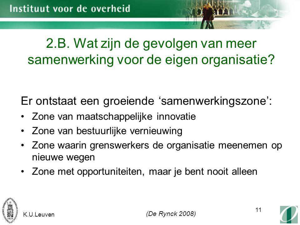 K.U.Leuven 11 2.B. Wat zijn de gevolgen van meer samenwerking voor de eigen organisatie.