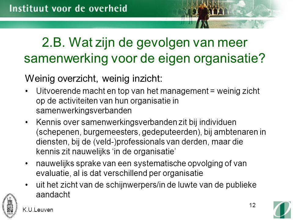 K.U.Leuven 12 2.B. Wat zijn de gevolgen van meer samenwerking voor de eigen organisatie.