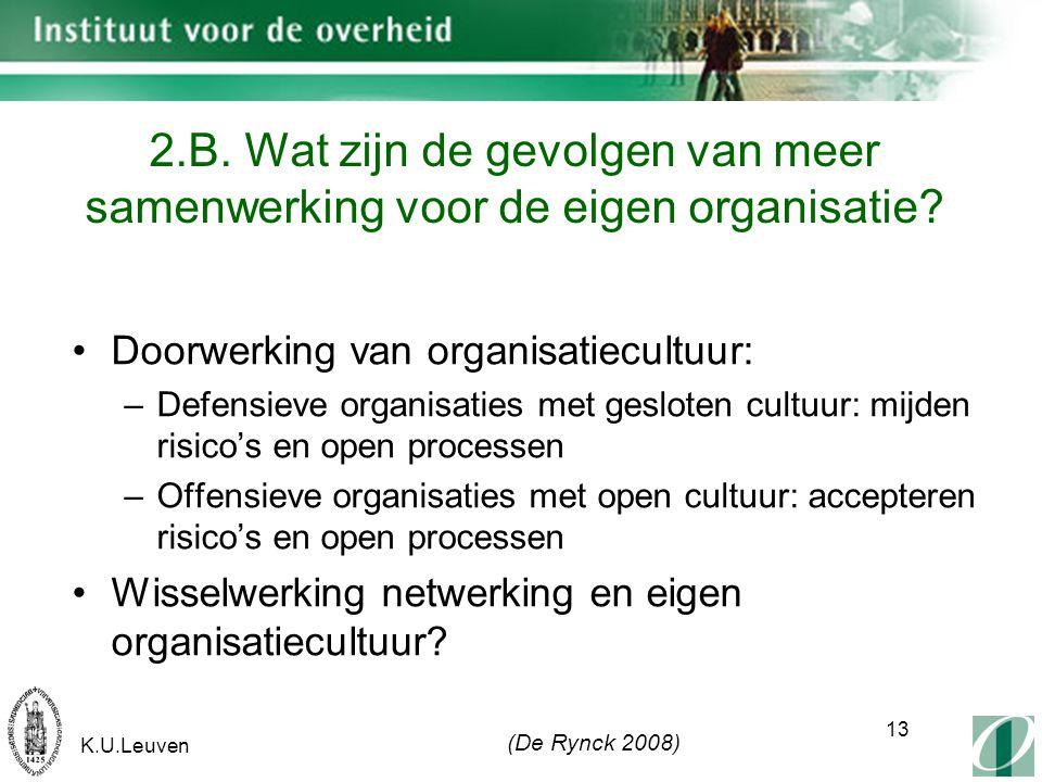 K.U.Leuven 13 2.B. Wat zijn de gevolgen van meer samenwerking voor de eigen organisatie.