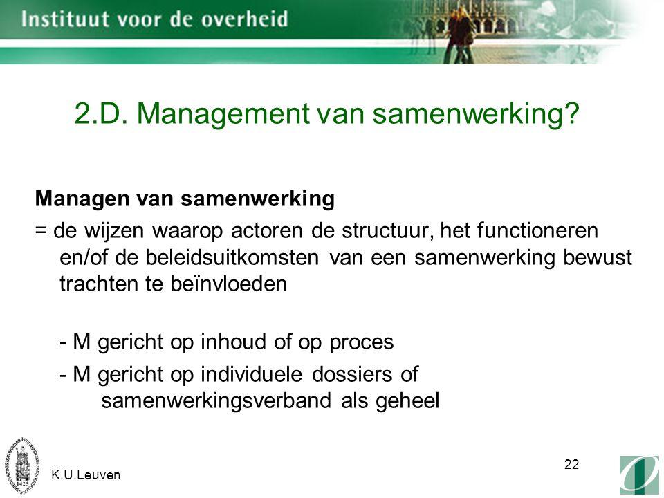 K.U.Leuven 22 2.D. Management van samenwerking.