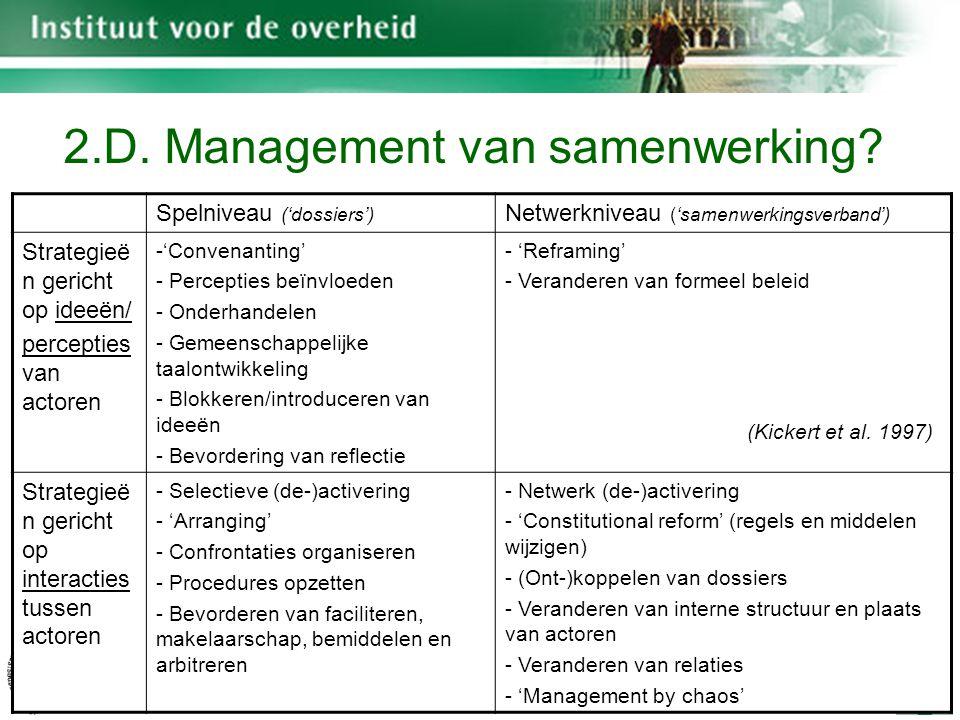 K.U.Leuven 23 Spelniveau ('dossiers') Netwerkniveau ('samenwerkingsverband') Strategieë n gericht op ideeën/ percepties van actoren -'Convenanting' - Percepties beïnvloeden - Onderhandelen - Gemeenschappelijke taalontwikkeling - Blokkeren/introduceren van ideeën - Bevordering van reflectie - 'Reframing' - Veranderen van formeel beleid Strategieë n gericht op interacties tussen actoren - Selectieve (de-)activering - 'Arranging' - Confrontaties organiseren - Procedures opzetten - Bevorderen van faciliteren, makelaarschap, bemiddelen en arbitreren - Netwerk (de-)activering - 'Constitutional reform' (regels en middelen wijzigen) - (Ont-)koppelen van dossiers - Veranderen van interne structuur en plaats van actoren - Veranderen van relaties - 'Management by chaos' (Kickert et al.