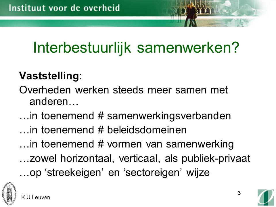 K.U.Leuven 24 Te onderscheiden managementrollen: -Netwerkoperator -Netwerkkampioen -Creatieve denker - Trekker/promoter -Visiebewaker -… => Gespeeld door politici, ambtenaren & derden 2.D.