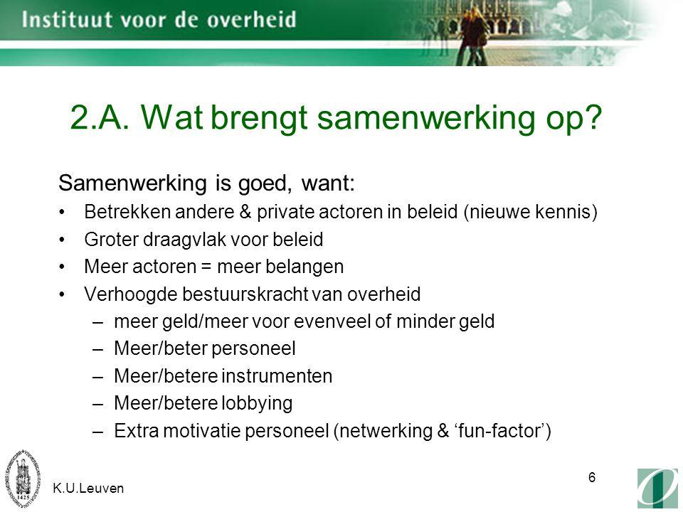 K.U.Leuven 6 2.A. Wat brengt samenwerking op.