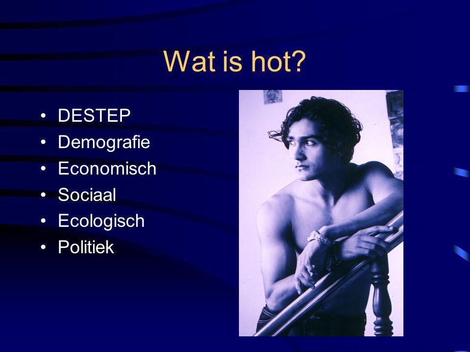 Wat is hot? DESTEP Demografie Economisch Sociaal Ecologisch Politiek
