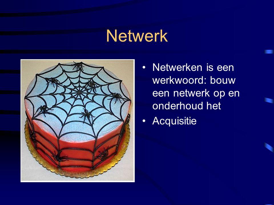 Netwerk Netwerken is een werkwoord: bouw een netwerk op en onderhoud het Acquisitie