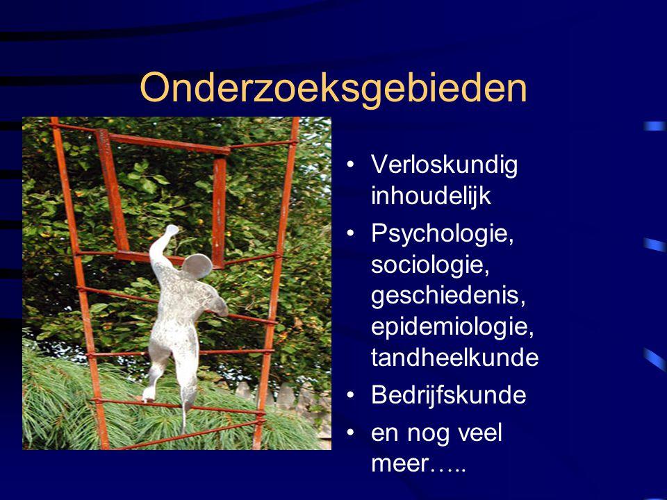 Onderzoeksgebieden Verloskundig inhoudelijk Psychologie, sociologie, geschiedenis, epidemiologie, tandheelkunde Bedrijfskunde en nog veel meer …..