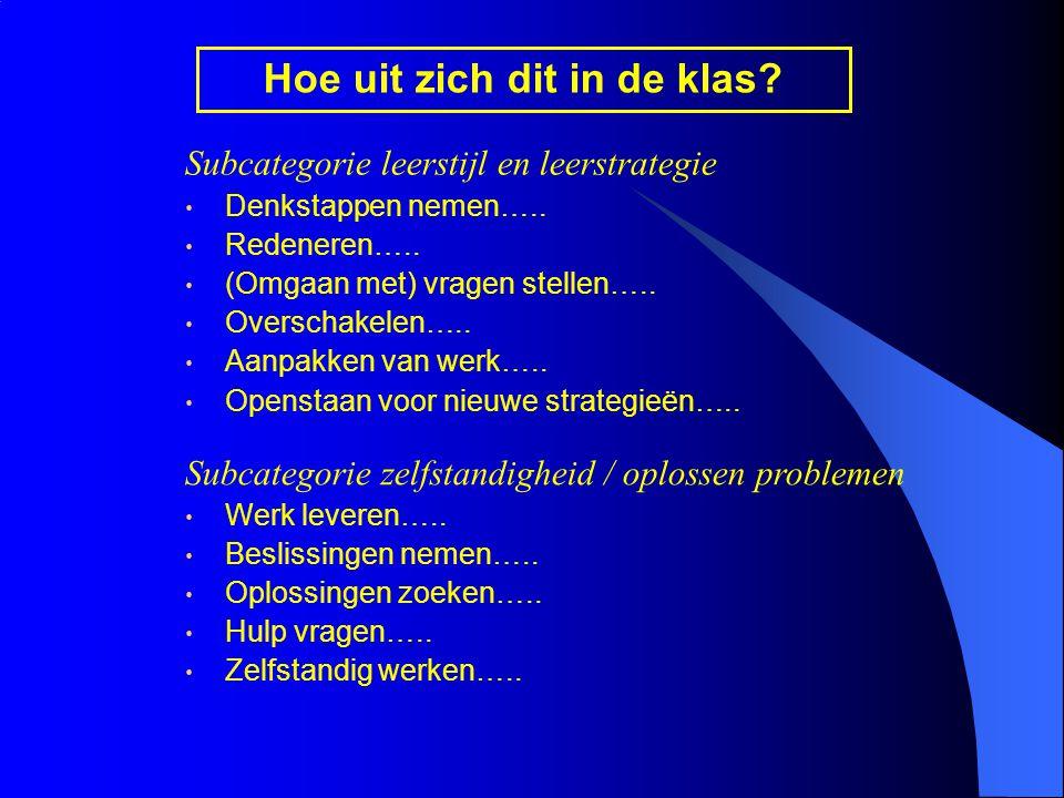 Subcategorie leerstijl en leerstrategie Denkstappen nemen…..