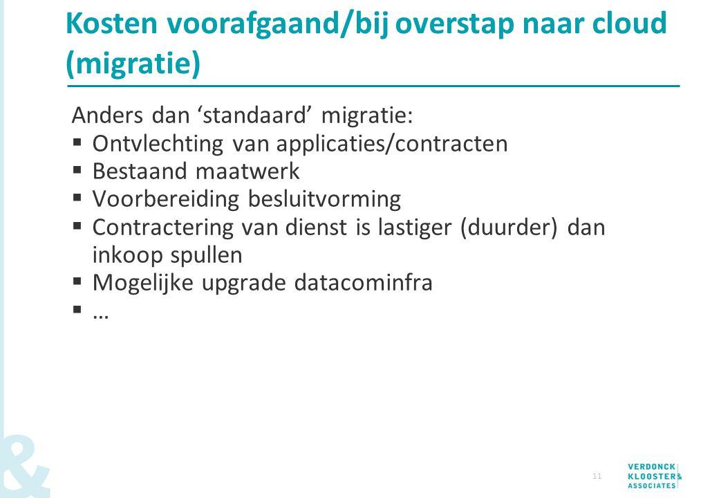 11 Anders dan 'standaard' migratie:  Ontvlechting van applicaties/contracten  Bestaand maatwerk  Voorbereiding besluitvorming  Contractering van d