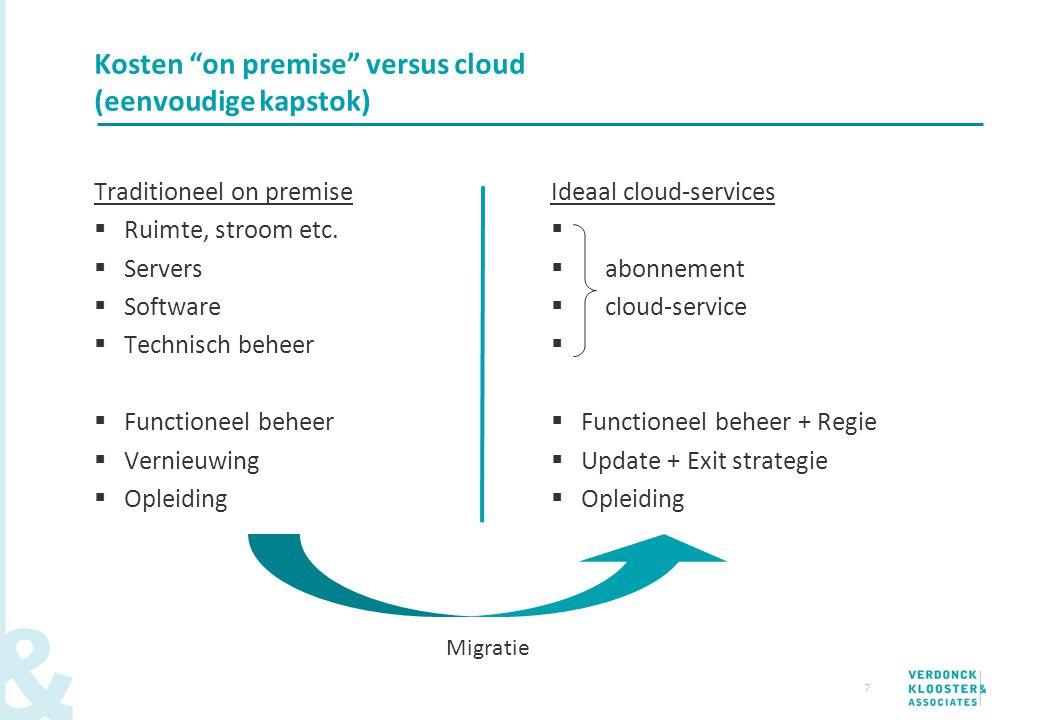 """7 Kosten """"on premise"""" versus cloud (eenvoudige kapstok) Traditioneel on premise  Ruimte, stroom etc.  Servers  Software  Technisch beheer  Functi"""
