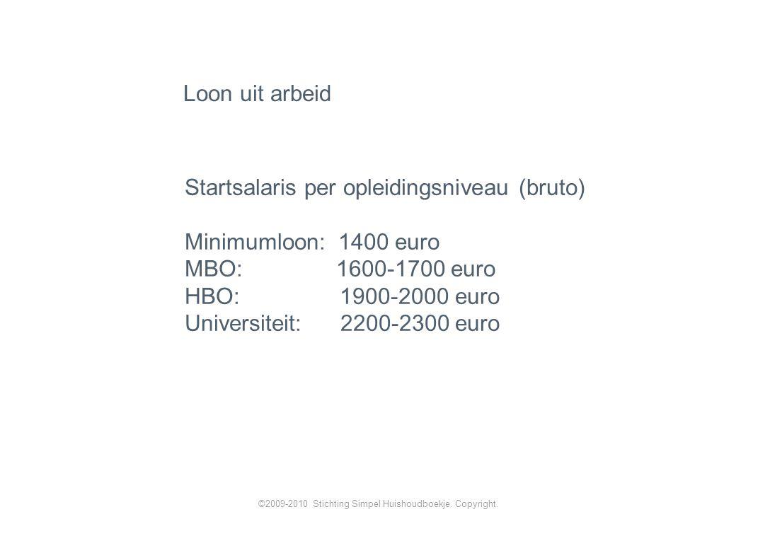 Loon uit arbeid Startsalaris per opleidingsniveau (bruto) Minimumloon: 1400 euro MBO: 1600-1700 euro HBO: 1900-2000 euro Universiteit: 2200-2300 euro ©2009-2010 Stichting Simpel Huishoudboekje.