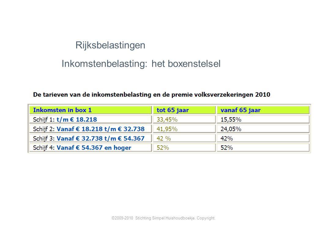 Inkomstenbelasting: het boxenstelsel Rijksbelastingen ©2009-2010 Stichting Simpel Huishoudboekje.